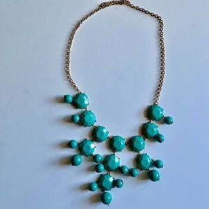 Turquoise bauble bib statement necklace
